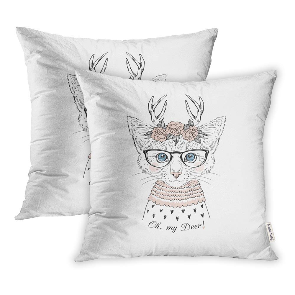 ARHOME Cute Portrait Kitten Girl Wearing Rose Garland Deer Horns Graphic Kid Oh My Pillow Case Pillow Cover 18x18 inch Set of 2