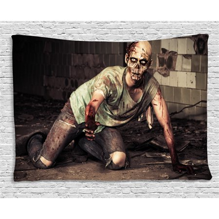 - Zombie Decor Tapestry, Halloween Scary Dead Man in Old Building with Bloody Head Nightmare Theme, Wall Hanging for Bedroom Living Room Dorm Decor, 60W X 40L Inches, Grey Mint Peach, by Ambesonne