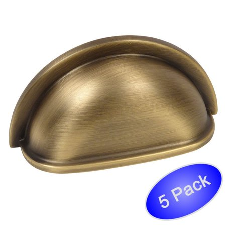 3 Forgings Cup Pull - Cosmas 4310BAB Brushed Antique Brass Cabinet Hardware Bin Cup Drawer Handle Pull - 3