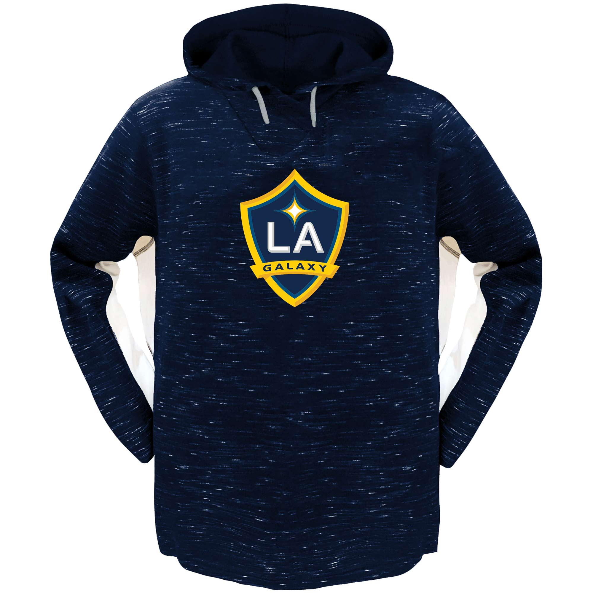 LA Galaxy Majestic Women's Plus Size Contrast Heathered Pullover Hoodie - Navy/White