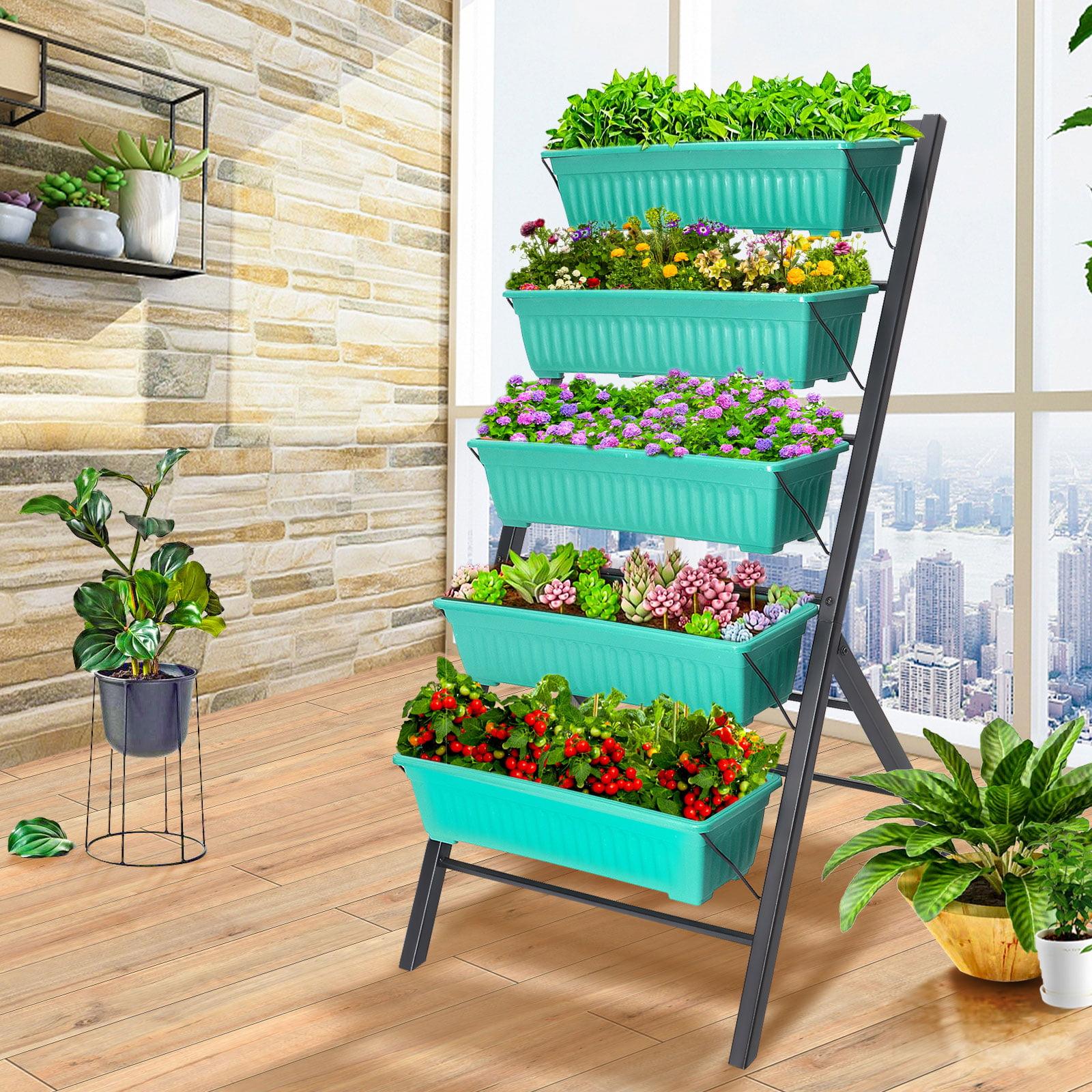 Vh Plastic Raised Garden Bed Planter Kit Brown Set Of 4 Walmart Com Walmart Com