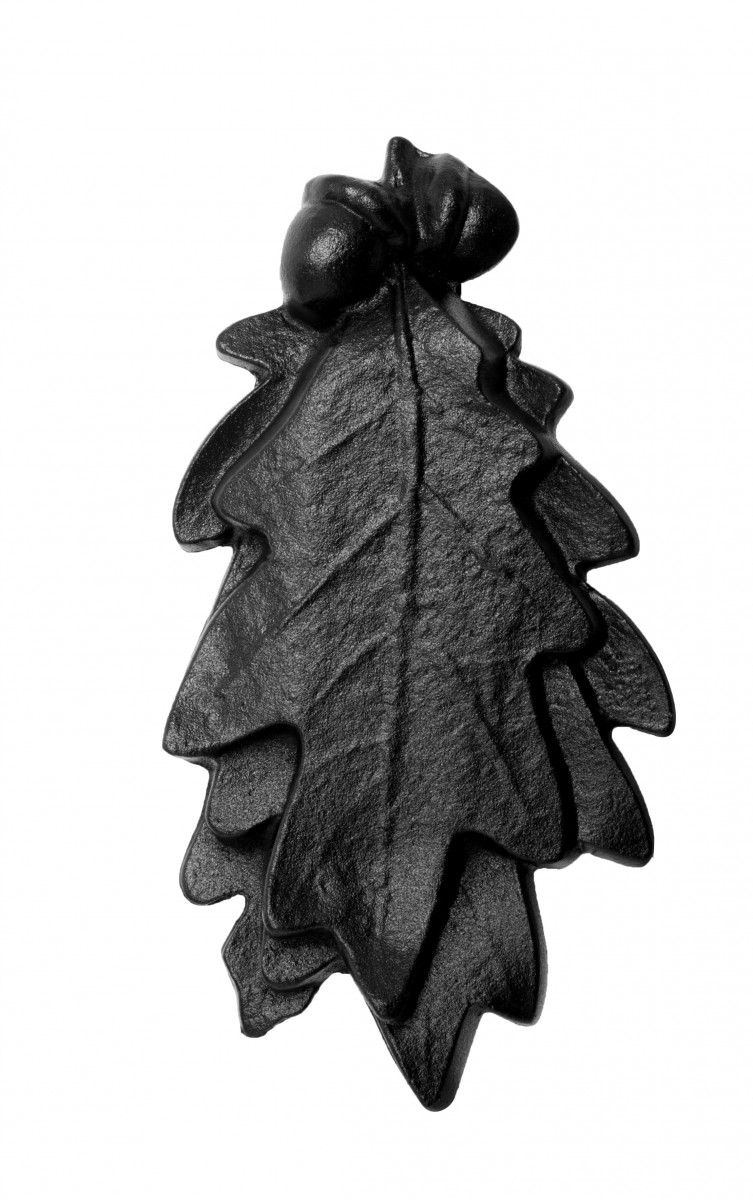 Door Knocker Black Cast Iron Oak Leaf 6 Inch X 3 Inch