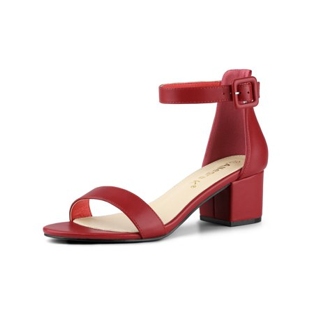Women's Low Block Heel Ankle Strap Sandals Red (Size 8)
