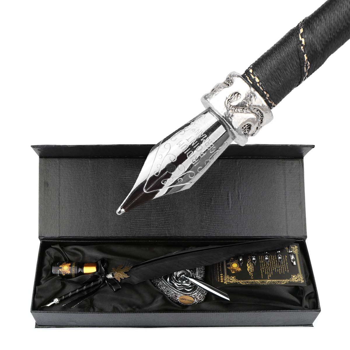 Lemonbest Vintage Writing Quill Feather Pen, Antique True Feather Metal Calligraphy Pen, Feather Dip Pen Set with Elegant Carving Pen Stand Ink Bottle 5pcs Nibs (Black)
