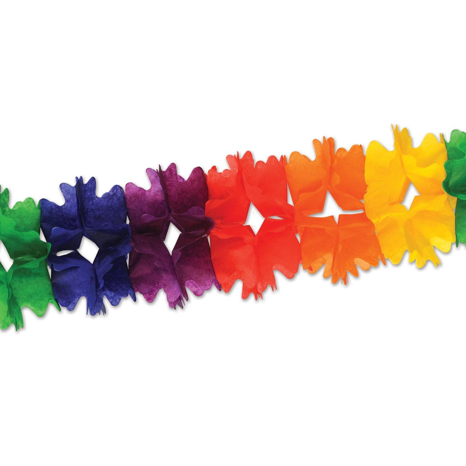 Club Pack of 12 Bold Rainbow Festive Pageant Garland Decorations 14.5'