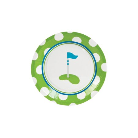 Fun Express - Golf PaR-Tee Dessert Plates for Birthday - Party Supplies - Print Tableware - Print Plates & Bowls - Birthday - 8 - Par Golf Supply