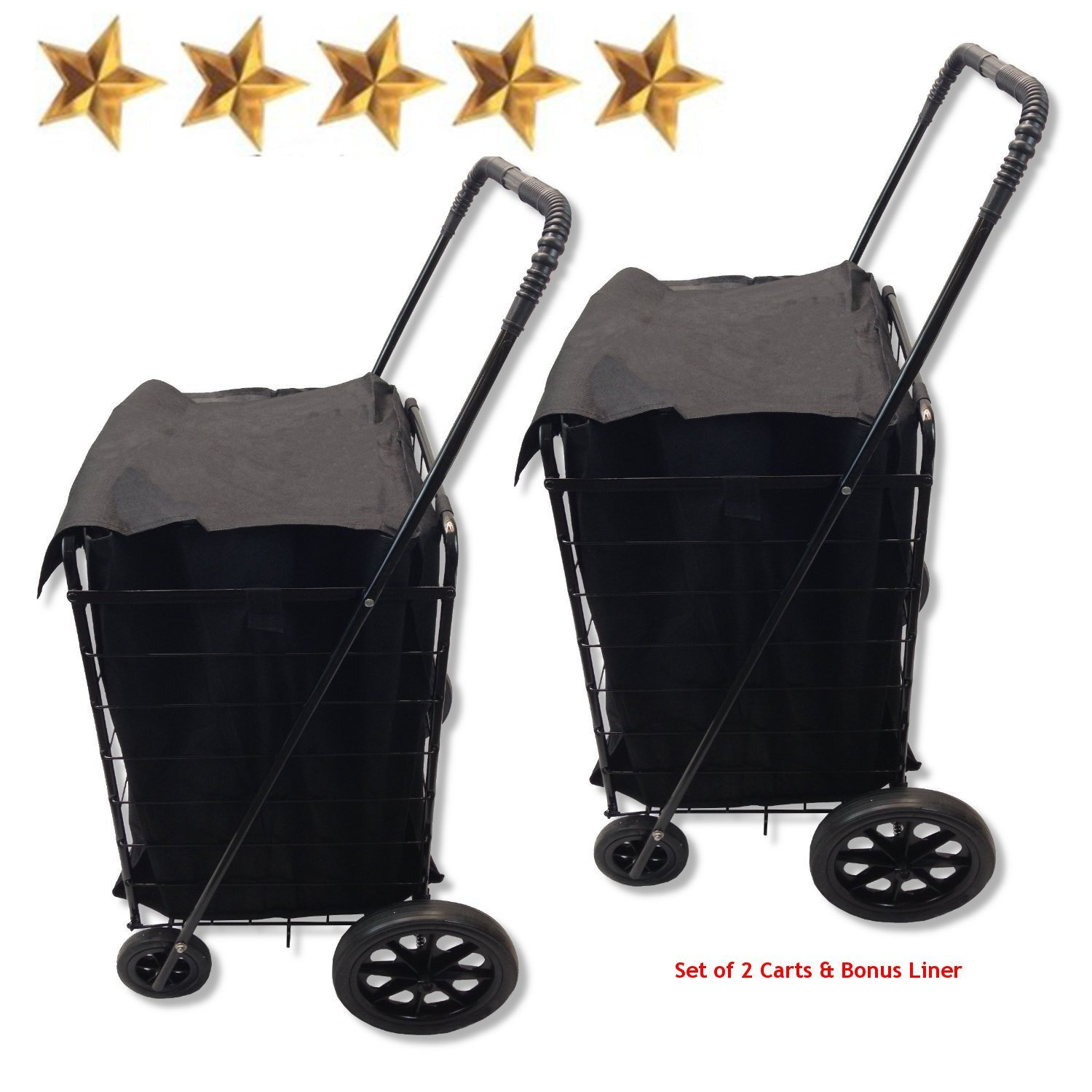 Set of 2 Extra Large Heavy-Duty Black Folding Utility Cart Folds Up Rolling Storage Shopping Carrier from SCF (BLACK) with BONUS LINER