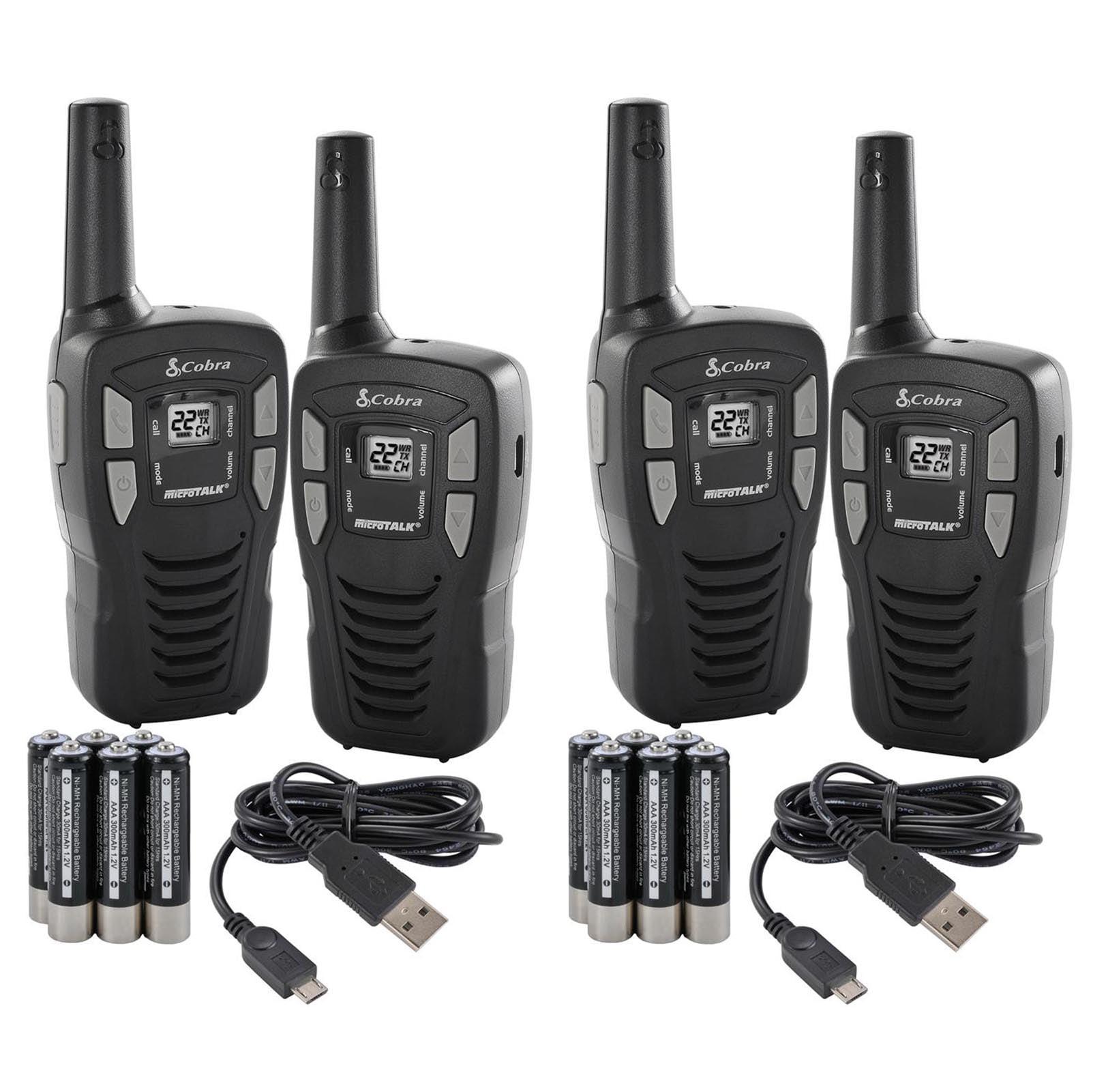 New! (4) COBRA CXT145 MicroTalk 16 Mile 22 Channel Walkie Talkie 2 Way Radios by Cobra