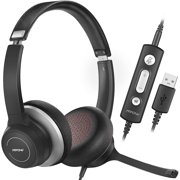 Mpow USB Headset with Microphone Noise Canceling, Dual AI Noise Reduction Technology, Comfort-fit Computer Headphones with Mic for Home Office, in-line Control with Mute for Remote Learning, Webinar