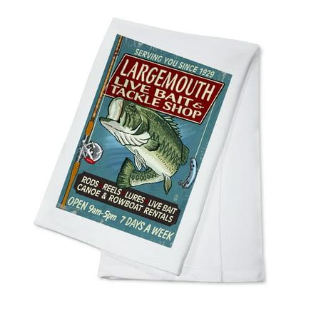 Largemouth Bass Tackle (Large Mouth Bass Tackle - Vintage Sign - Lantern Press Artwork (100% Cotton Kitchen)