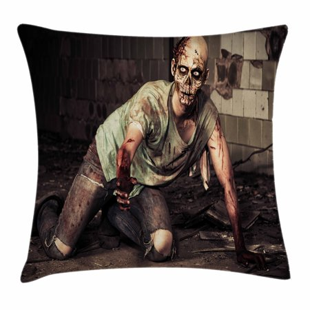 Zombie Decor Throw Pillow Cushion Cover, Halloween Scary Dead Man in Old Building with Bloody Head Nightmare Theme, Decorative Square Accent Pillow Case, 18 X 18 Inches, Grey Mint Peach, - Scary Halloween Themes