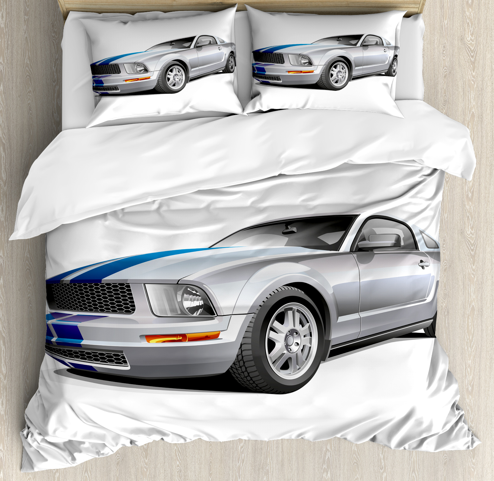 Teen Room Duvet Cover Set, Modern Cool Car Automobile Fancy Speed Fast Vehicle Illustration Print, Decorative Bedding Set with Pillow Shams, Silver Grey Blue, by Ambesonne