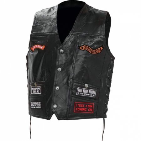 Diamond Plate Rock Design Genuine Buffalo Leather Concealed Carry Biker Vest With 16 Patches