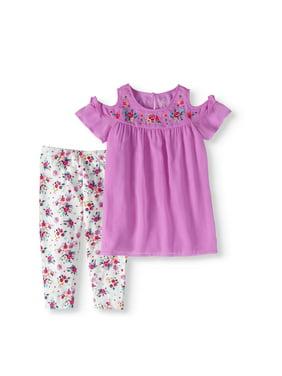 0ab181e2d Product Image Cold-Shoulder Chiffon Tunic and Floral Capri Legging 2-Piece  Set (Little Girls. Wonder Nation