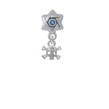 Mini Skull and Bones with 3 AB Crystals - Star of David with Blue Crystal Charm Bead