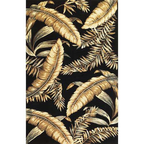 KAS Rugs Sparta Black Ferns Area Rug