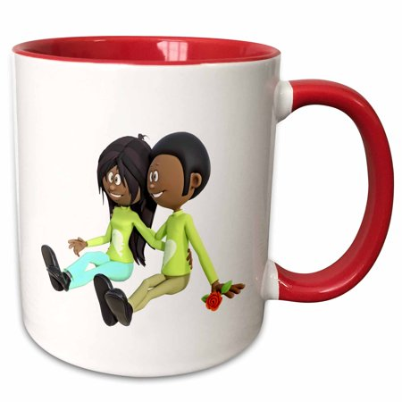 3dRose African American Cartoon Couple Sitting and In Love - Two Tone Red Mug, 11-ounce