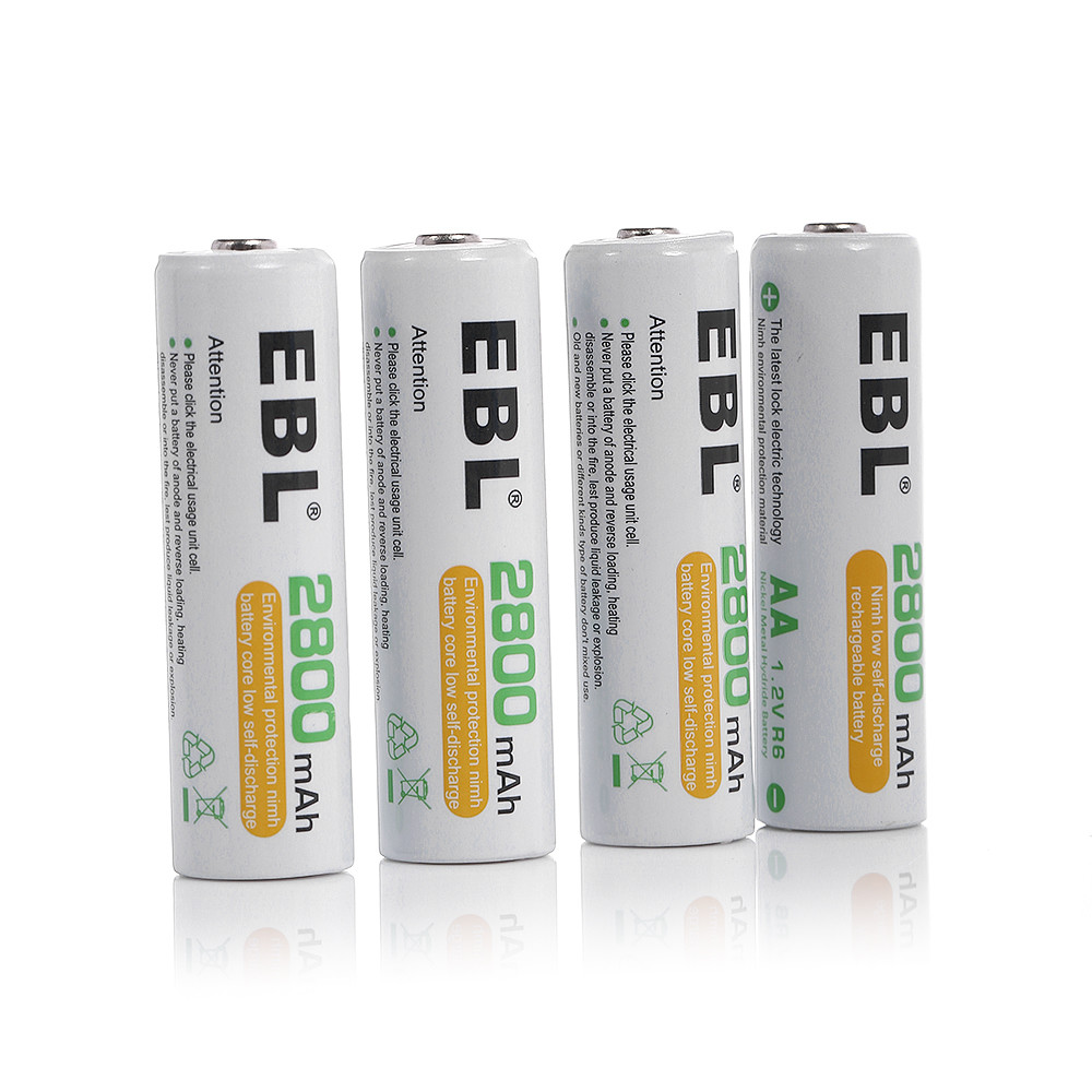 EBL 4-Pack 1.2v AA Battery 2800mAh Ni-MH Rechargeable Batteries