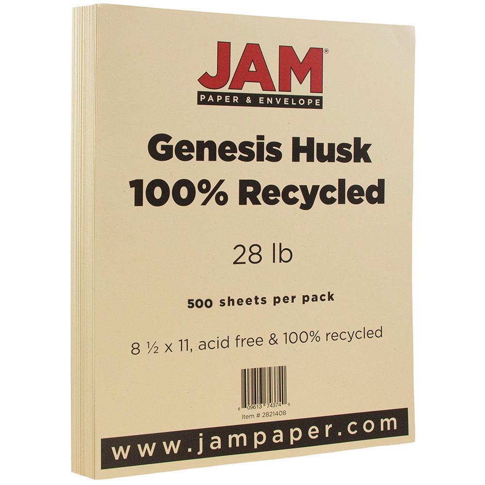 JAM Paper Recycled Paper, 8.5 x 11, 28lb Husk Genesis,500 Sheets/Ream