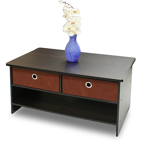 Furinno 10003EX BR Espresso Finish Center Coffee Table with 4 Bin Drawers by Furinno