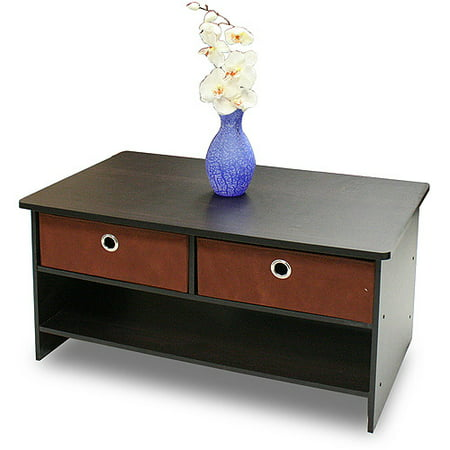 Furinno 10003EX/BR Espresso Finish Center Coffee Table with 4 Bin Drawers ()