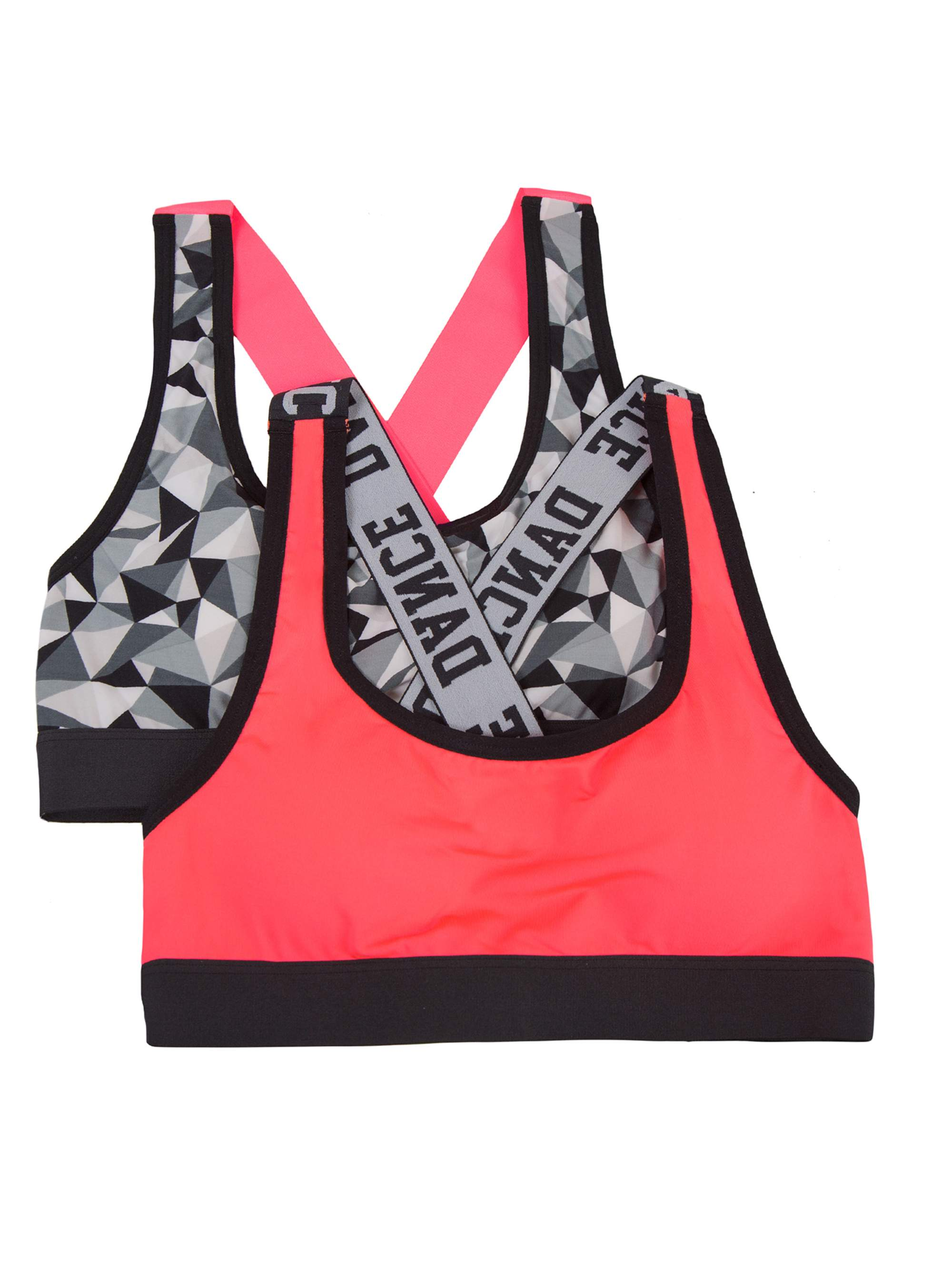 Girls Banded Sports Bra, 2 Pack