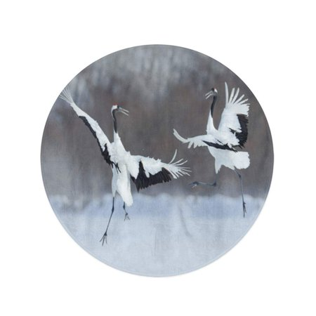 JSDART 60 inch Round Beach Towel Blanket Dancing Pair of Red Crowned Crane Open Wing Travel Circle Circular Towels Mat Tapestry Beach Throw - image 2 of 2