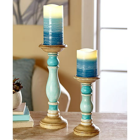 4-Pc. LED Pillar Candle & Holder Set Blue](Candle Holder Sets)