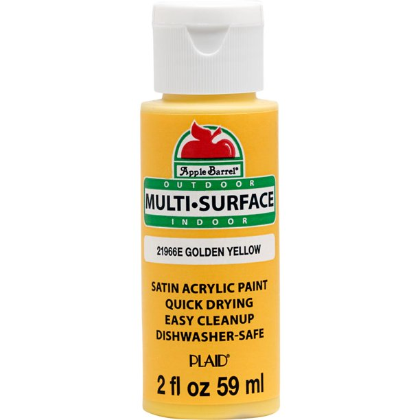 Apple Barrel 21966e Multi Surface Craft Paint Satin Finish Golden Yellow 2 Fl Oz Walmart Com Walmart Com