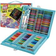 Stoneway 150 pcs Portable Inspiration & Creativity Coloring Art Set Painting & Drawing Supplies Kit, Markers, Crayons, Colour Pencils - Black