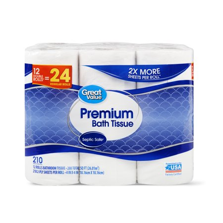 Great Value Premium Bath Tissue, 12 Double (Twin Jumbo Bath Tissue)