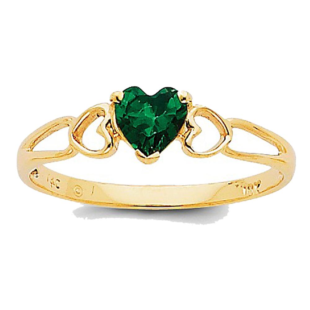 14K Yellow Gold Emerald Prong Heart Cut Split-Shank Ring