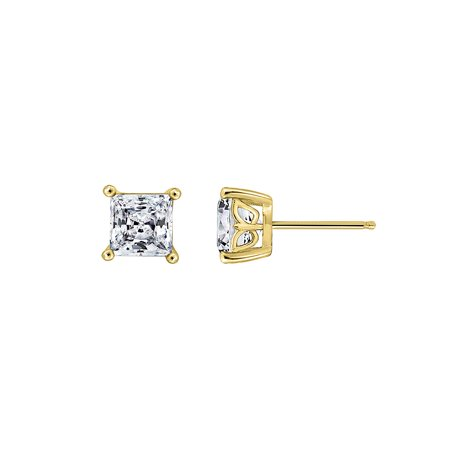 GEMOUR Yellow Gold Plated Sterling Silver 1 ct Princess Cut Cubic Zirconia Stud Earrings