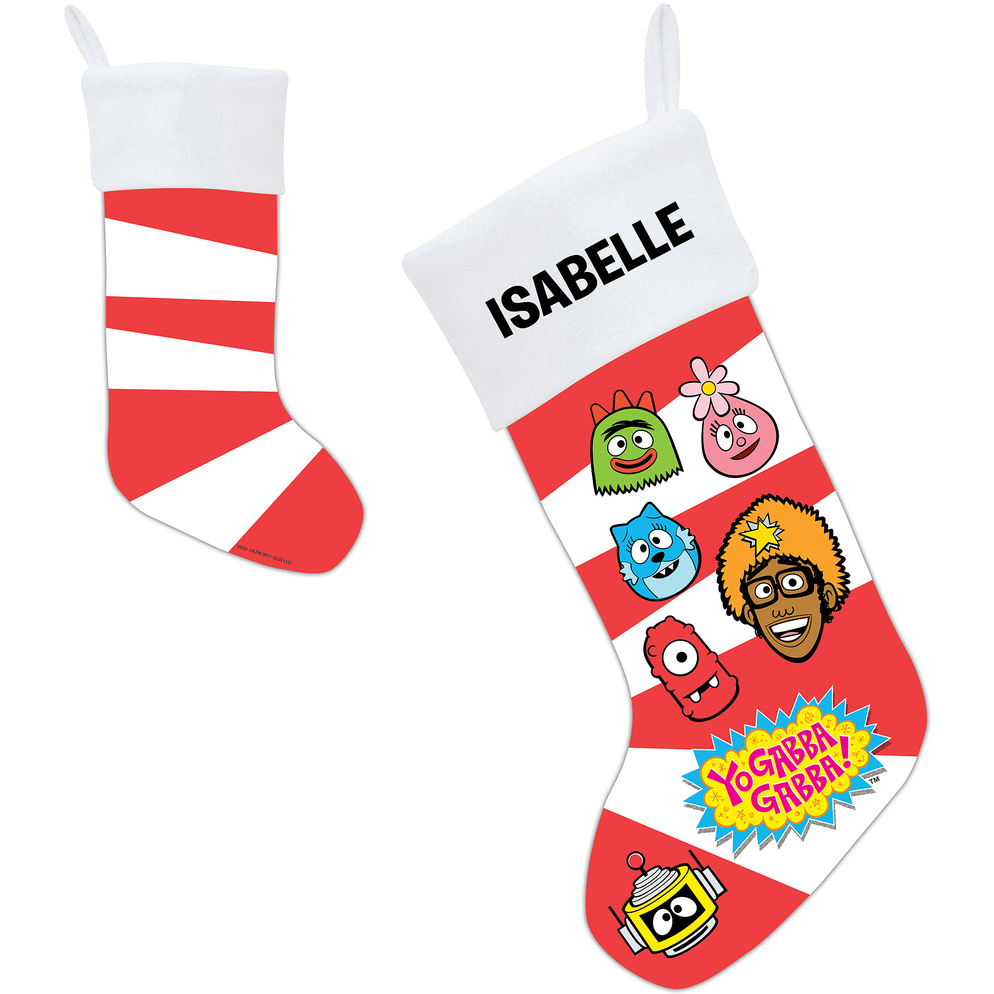Personalized Yo Gabba Gabba! Candy Cane Faces Christmas Stocking