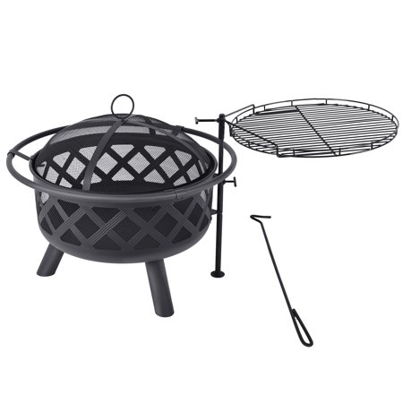 MICASA 30-inch Fire Pit and Cooking Grill with Spark Screen, poker,and swing away cooking surface. For Outdoor use only!