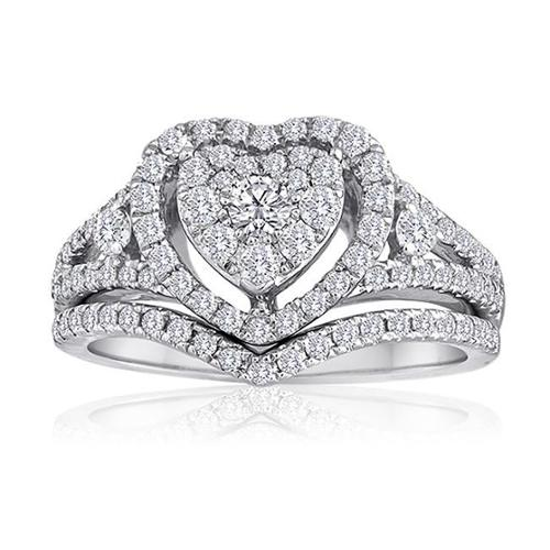 Amoureux Platinaire Platinum and Sterling Silver 1ct TDW Diamond Heart Shape Bridal Set