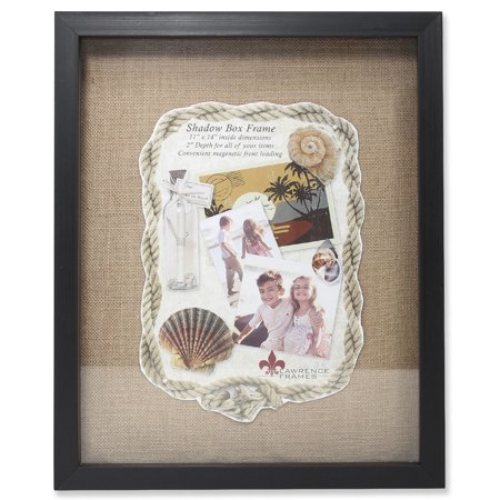 11x14 Black Front Hinged Shadow Box Frame - Burlap Display Board