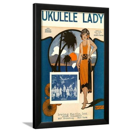Robin Art Deco Print (Ukulele Lady, Sheet Music, Art Deco Framed Print Wall)