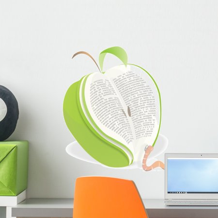 Worm Reading Green Apple Wall Decal Mural by Wallmonkeys Peel and Stick Graphic (18 in H x 15 in W) WM139925 Green Apple Peel