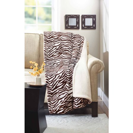Better Homes Gardens Bhg Royal Plush Sherpa Brn Crm Zebra