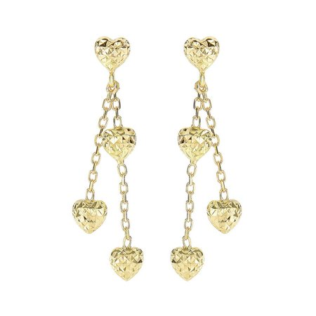 14k Gold 5.1x35mm Puffed Heart 3-drop Puffed Heart Double Strand Cable Chain Earrings Push Back