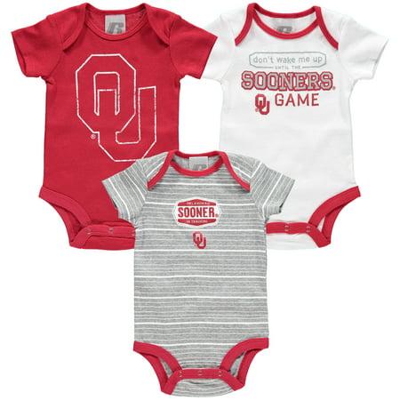 Newborn & Infant Russell Crimson Oklahoma Sooners Three-Pack Bodysuit Set (Oklahoma Sooners Infant Two Piece)