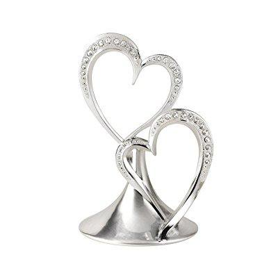 hortense b. hewitt wedding accessories sparkling love double heart silver-plated cake top, 5-1/2-inch tall