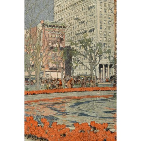 Scribners Magazine 37 1905 Tulips bloom in Union Square 1 Poster Print by  Jules Guerin