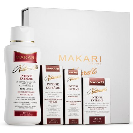 Makari Naturalle Intense Extreme Gift Set ? Lightening, Toning & Moisturizing With Shea Butter & SPF 15 ? Anti-Aging & Whitening Treatment for Dark Spots, Acne Scars &