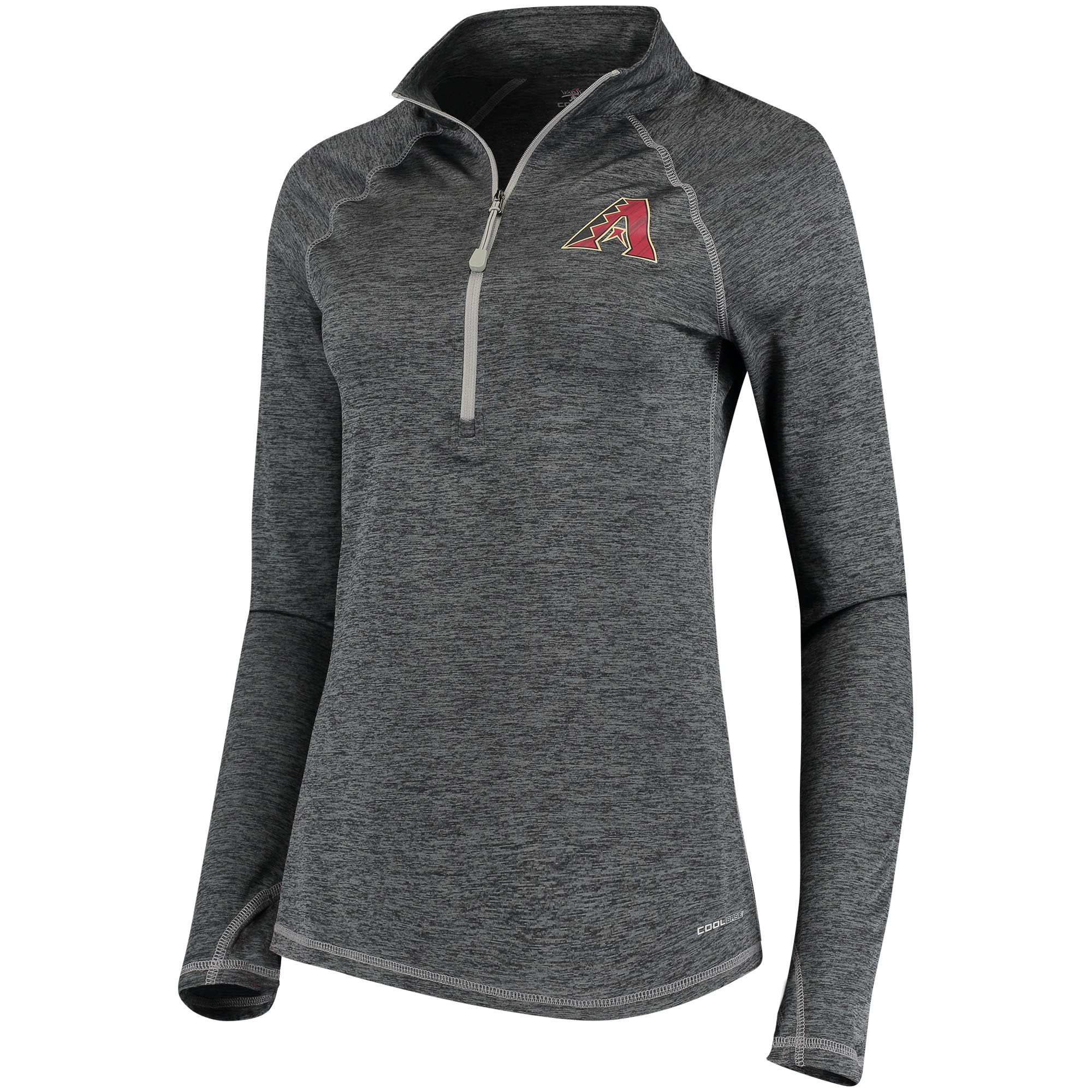 Arizona Diamondbacks Majestic Women's Don't Stop Trying Cool Base Half-Zip Pullover Jacket Charcoal by MAJESTIC LSG