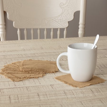 - Natural Tan Farmhouse Tabletop Kitchen Veranda Burlap Tan Cotton Cotton Burlap Solid Color Square Coaster Set of 12