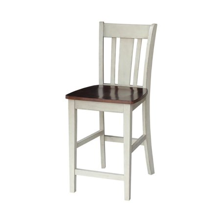 "24"" San Remo Stool Antiqued Almond/Espresso – International Concepts"