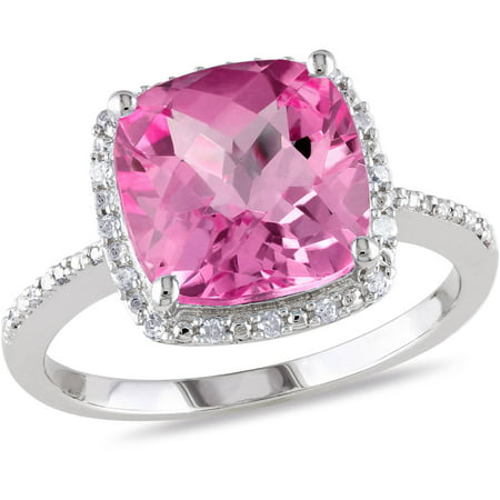 - 5-3/4 Carat T.G.W. Cushion-Cut Created Pink Sapphire and Diamond-Accent Halo Cocktail Ring