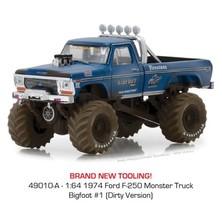 Ford F250 Diesel Trucks (Greenlight 1:64 Kings of Crunch Series 1 - 1974 Ford F-250 Bigfoot #1 Monster Truck Dirty Version)